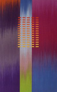 'Chromascope 1' (2010) by American-born, London-based textile artist  designer Ptolemy Mann. Hand dyed  woven, 50 x 80 cm. via how to spend it