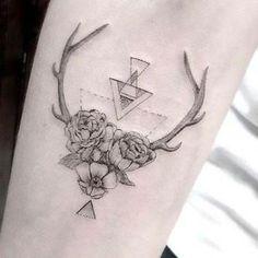 Body – Tattoo's – Antler,flower tattoo by dr. Tattoo Femeninos, Piercing Tattoo, Body Art Tattoos, New Tattoos, Tattoos For Guys, Tatoos, Dr Woo Tattoo, Deer Tattoo, Raven Tattoo