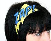 Headband, ZAP, Superhero Headband, Yellow and Red. £15.00, via Etsy. superhero birthday, marvel superhero, headband yellow, headbands, parti idea, superhero theme