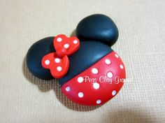 Minnie Mouse Polymer Clay Pendant Halloween by PegsClayGround,