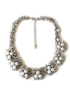 Rhinestone Pearly Geometry Collar Necklace