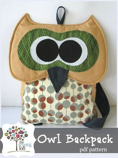 Owl Backpack Pattern INSTANT Download PDF File by TheSewingLoft, $8.50