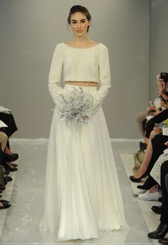 Crystal Cashmere Crop Top Gown | Theia White Collection Fall 2015 | Blog.theknot.com