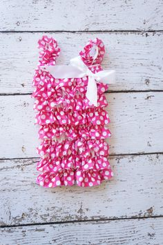 Petti romper - baby - Polka Dot Satin Romper in Hot Pink and Lace -Baby Romper- Minnie Mouse Outfit-Minnie Mouse Birthday
