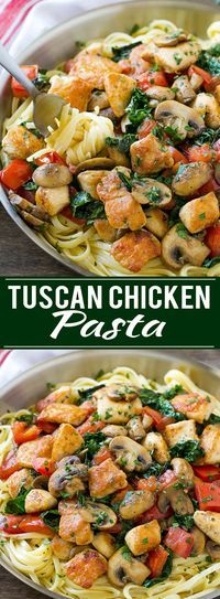 This recipe for Tuscan chicken pasta is creamy pasta topped with seared chicken, tomatoes, kale and mushrooms. An easy and hearty dinner that's ready in no time!