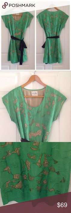Chelsea Flower Embroidered Mini-Shift Dress A kelly green floral embroidered mini-shift dress with nude lining and black sash by Chelsea Flower (purchased from Nordstrom). Size small. In great condition. Chelsea Flower Dresses Mini
