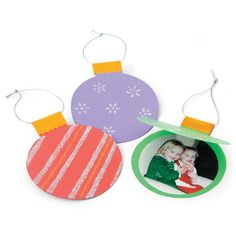 Make paper ornaments cards and put pictures in them =)