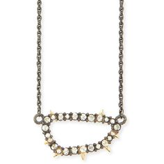 Alexis Bittar Elements Spiked Crystal Link Pendant Necklace ($135) ❤ liked on Polyvore featuring jewelry, necklaces, silver, crystal jewellery, crystal necklace, crystal necklace pendant, crystal pendant and crystal spike necklace