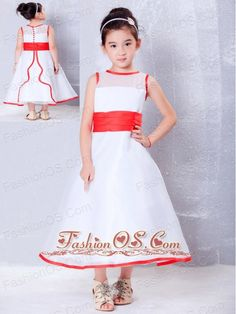 Customize White and Red A-line Scoop Flower Girl Dress Ankle-length Organza  http://www.fashionos.com  http://www.facebook.com/quinceaneradress.fashionos.us  Sleeveless and red sash design make the girl's dress available in any colors and occasions. The dress is classic ball gown style and designed to float away from body for making you walk easier and freely, while the fitting bodice design with a belt on the waist makes the dress more conspicuous among dress.