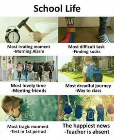 Hahahahaha true if it school life was or is much more related to dis or is exactly like dis.I am in school and its true that nothing is like school life Funny School Jokes, Some Funny Jokes, Really Funny Memes, Crazy Funny Memes, School Humor, Funny Relatable Memes, Funny Facts, Hilarious, School Life Quotes