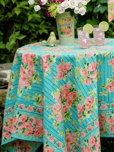 Roses on Stripe Tablecloth | Table Linens & Kitchen, Tablecloths :Beautiful Designs by April Cornell