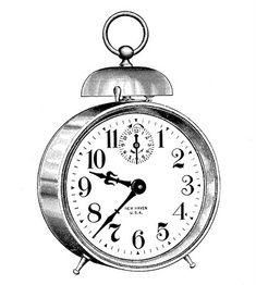 Vintage Clip Art - Classic Alarm Clock - Steampunk - The Graphics Fairy