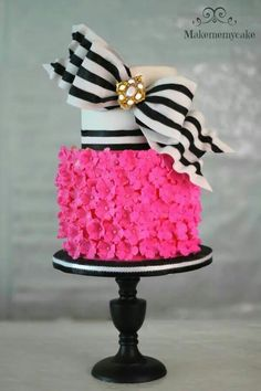 Black and white and hot pink cake. Love this for a 16th birthday party.