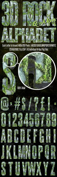 3D Rendered Moss On Rock Alphabet  #GraphicRiver         Each Letter Is Around 1400×700 Pixels | 3D Rendered Font | 45 Transparent Png Files   You Get A.B.C.D.E.F.G.H.I.J.K.L.M.N.O.P.Q.R.S.T.U.V.W.X.Y.Z.1.2.3.4.5.6.7.8.9.0.Full Stop. Question Mark. Exclamation Mark. Comma. Pound Sign. Dollar Sign. at. Hash. Forward Slash.   If You Have Any Trouble E-Mail Me Through My Profile Page And I Will Be More Than Happy To Help You…........   Please Rate Or Leave A Comment Thank you     Created…