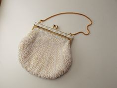 Vintage white beaded clasp purse gold and by GeneralyLovelyThings