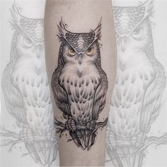 Owl Thigh Tattoos, Tribal Owl Tattoos, Animal Tattoos, Owl Tattoo Design, Tattoo Designs, Tattos, Tattoo Ideas, Sketch, Skull