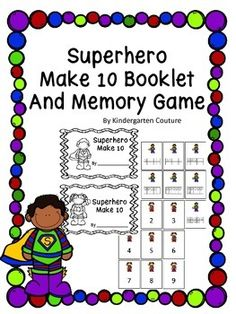 Students can count on these ten frames to determine how many more stars are needed to make 10. Put the pages in any order you wish. There are two books on a page one with a girl superhero and one with a boy superhero making it easy peasy to run through the copy machine with a staple on the left side.