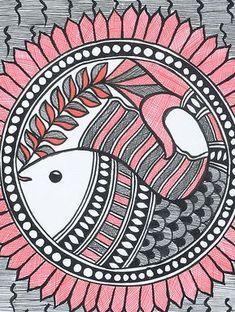 Fish Madhubani Painting x Worli Painting, Saree Painting, Kalamkari Painting, Art Painting Gallery, Fabric Painting, Madhubani Art, Madhubani Painting, Doodle Art Drawing, Art Drawings