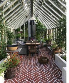 Amazing conservatory greenhouse ideas for indoor-outdoor bliss - 🍀Andrea L.🐾 - Amazing conservatory greenhouse ideas for indoor-outdoor bliss Amazing conservatory greenhouse ideas for indoor-outdoor bliss - Best Greenhouse, Outdoor Greenhouse, Greenhouse Plans, Greenhouse Gardening, Outdoor Gardens, Greenhouse Wedding, Greenhouse House, Greenhouse Attached To House, Pallet Greenhouse
