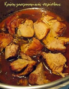 Greek Recipes, Light Recipes, Pork Recipes, Cooking Recipes, Kung Pao Chicken, Food Styling, Food And Drink, Menu, Dinner