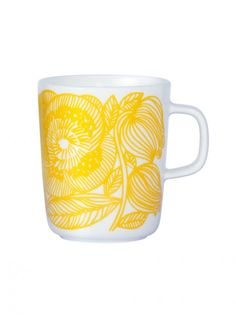 Marimekko Geranium White/Yellow Mug Wake up on the bright side when you use this cheery mug to sip your morning tea or cup of joe. Adorned with Aino-Maija Metsola's Kurjenpolvi (Geranium) pattern in a sunny shade of yellow, this smooth-l. Marimekko, Home Decor Items, Home Decor Accessories, Kitchen Accessories, Yellow Mugs, Willow Green, Metal Chairs, Mellow Yellow, Geraniums