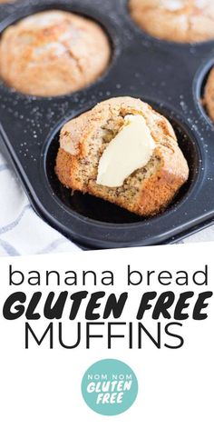 Gluten Free Banana Bread Muffins that you can quickly whip together when you've .-- Gluten Free Banana Bread Muffins that you can quickly whip together when you've got ripe bananas sitting on the counter. This is the ultimate go-to banana bread recipe. Muffins Blueberry, Banana Bread Muffins, Gluten Free Banana Bread, Gluten Free Baking, Gluten Free Breads, Gluten Free Breakfasts, Gluten Free Desserts, Gluten Free Recipes, Muffins Sans Gluten