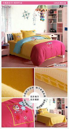 High Grade Cotton Kids Bedding Set Embroidered Bed Linen Cartoon Plain  Queen Duvet Cover | Csodaszép ágyneműk | Pinterest | Embroidered Bedding,  ...