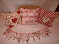Shabby Chic Cushions with Co-ordinating Bunting | eBay