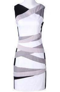 White Black Silver Sleeveless Striped Bodycon Dress
