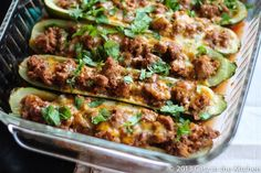 Taco Stuffed Zucchini Boats- make with turkey or with Boca ground meatless meat.