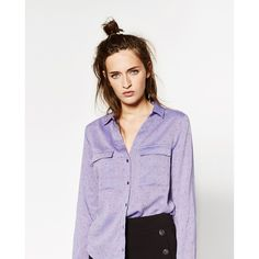 PLUNGING NECKLINE BLOUSE - View all-TOPS-WOMAN | ZARA United States (220 CNY) ❤ liked on Polyvore featuring tops, blouses, purple top, plunging neckline tops, plunging neckline blouse, plunge-neck tops and purple blouse