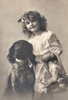 Vintage photo of a sweet girl and her sweet dog