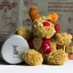 Personalised Reindeer and Maple Wooden Heart in a Tin