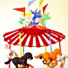 Wilton Carousel Circus Cake Topper Set 31 pc set Vintage by 30one, $32.00