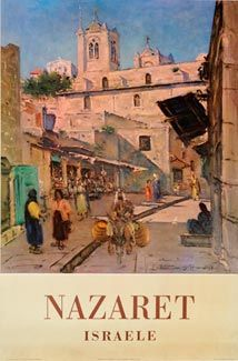 Vintage travel poster of Nazaret Israel 1958 Voyage Israel, Nazareth Israel, Vintage Travel Posters, Vintage Airline, Retro Posters, Cities, Holy Land, Illustrations, Art Pages
