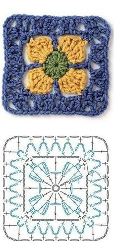 Nice little crochet granny motif with chart pattern found over...