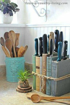 use old/damaged books/cookbooks to hold your knives...