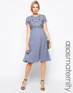 Image 1 of ASOS Maternity Exclusive Embellished Midi Dress