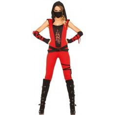 Ninja Assassin Womens Costume Set Our Price $42.50  The 4 piece Ninja Assassin costume set includes the hooded red catsuit with leg wrap detail. It comes with the dual strap belt wrap arm warmers and face mask.  Other items shown sold separately.  #cosplay #costumes #halloween
