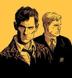 """True Detective"" - HBO  Matthew McConaughey & Woody Harrelson by Cameron Stewart"