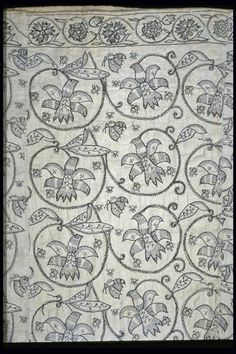 A rare woman's skirt made from fustian, a mix of linen and cotton, and embroidered with large floral patterns.    Production Date: 1621-1640