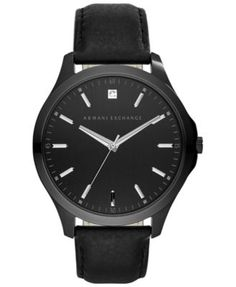 A|X Armani Exchange Men's Diamond Accent Black Leather Strap Watch 46mm AX2171