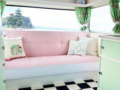 pink couch in vintage caravan Fabulous Pastel Vintage Caravans