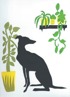 Dog With Plants. One of the examples of screen printing from Slamseys printmaking classes, private groups and print club. Book a class. Illustration Art Drawing, Art Drawings, Illustrations, How To Dye Fabric, Dyeing Fabric, Screen Plants, Applique Tutorial, Farm Dogs, Fabric Painting
