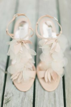 These bridal #shoes are so elegant and would look absolutely amazing for a classic wedding! From http://stylemepretty.com/new-york-weddings/2012/09/17/brooklyn-botanic-garden-wedding-from-maggie-harkov-photography/ Photo Credit: http://maggieharkov.com/ Shoes by http://badgleymischka.com/