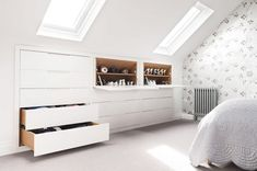 13 loft and attic storage ideas Drawers and shoe cupboards in loft storage bedroom Small Loft Bedroom, Attic Bedroom Storage, Loft Conversion Bedroom, Master Bedroom Storage Ideas, Bedroom Interior, Bedroom Design, Elegant Bedroom, Small Rooms, Bedroom Storage For Small Rooms