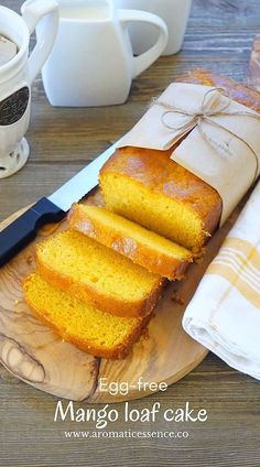 I'm super excited to share this egg-free Mango loaf cake/ Eggless mango cake. It was just an experiment, and it worked out beautifully! I used my sponge cake as a base for this recipe, played around with the quantities and Eggless Recipes, Eggless Baking, Easy Cake Recipes, Baking Recipes, Mango Dessert Recipes, Mango Recipes Vegan, Recipes With Mango, Eggless Desserts, Easter Desserts