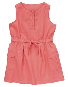 Linen Blend Dress at Crazy 8 Collection Name: Savanna Sparkle 55% linen/45% cotton Elasticized waist with bow tie Front buttons Front cargo pockets Approximately knee length Color: Savanna Pink