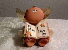 """Angel Cheeks Figurine """"To Mom I Love You"""" Kirk's Kritters 2001 Collectible"""