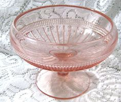 Antique Pink Depression Glass Candy Dish by familycollectibles4U